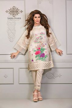 Saira Habib Eid Lawn is limited design collection that is launched for this festive season see all the designs from the gallery and get inspired from these art work. Stylish Dresses For Girls, Stylish Dress Designs, Designs For Dresses, Wedding Dresses For Girls, Party Wear Dresses, Dresses 2016, Party Dress, Simple Pakistani Dresses, Pakistani Fashion Casual