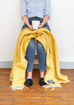 Lifestyle New Wool Knee Blanket in Yellow Beehive                         – The Tartan Blanket Co.