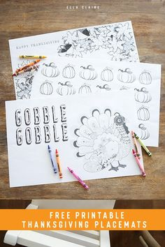 Thanksgiving Coloring Placemats | Free Printable - Ella Claire & Co.
