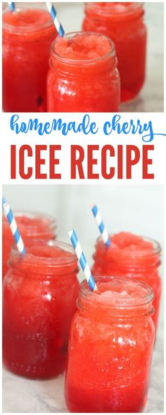 Homemade Cherry Icee Recipe for Summer YUM! I have a delicious Homemade Cherry Icee Recipe for Summer that you're sure to love and so will the kids! This is the perfect summer icee that will cool everyone down on a hot summers day! Kid Drinks, Frozen Drinks, Non Alcoholic Drinks, Cocktails, Beverages, Party Drinks, Drinks Alcohol, Healthy Meals For Kids, Healthy Drinks