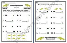 Comparing Numbers 0-20 Alligator Cut and Paste