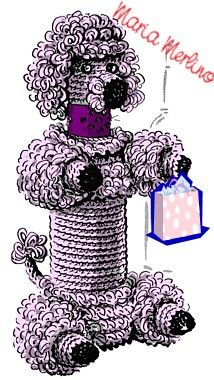 Crochet poodle bottle cover: Hooch Pooch..my mom has had one of these for as long as i can remember..and I'm 50!