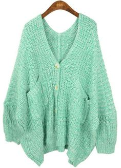 Light Green V Neck Pockets Batwing Loose Cardigan Sweater