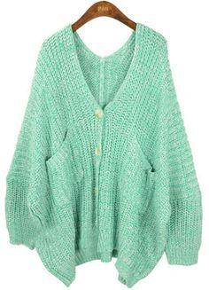 Light Green V Neck Pockets Batwing Loose Cardigan Sweater