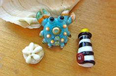Lampwork Nautical Beads  Crab Lighthouse and Sand Dollar by SUZOOM, 25.00