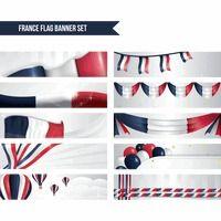 : france flag banner set