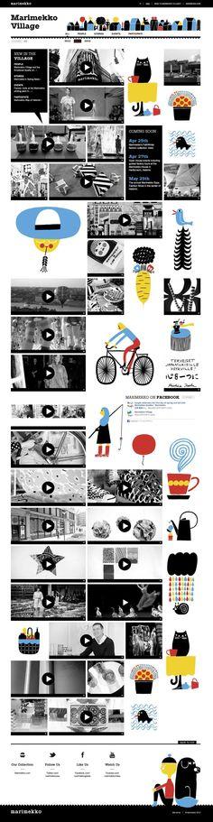 Marimekko Village  Website design layout. Inspirational UX/UI design sample.  Visit us at: www.sodapopmedia.com #WebDesign #UX #UI #WebPageLayout #DigitalDesign #Web #Website #Design #Layout