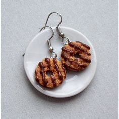 Samoa or Caramel DeLites Girl Scout Cookie Dangle Earrings polymer... ($22) ❤ liked on Polyvore featuring jewelry, earrings, dangle earrings, clay earrings, surgical steel stud earrings, surgical steel earrings and clay jewelry