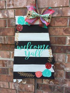 Alabama Door Hanger, Stripes and Floral Door Hanger, Summer Door Hanger, Alabama Wreath, Alabama Decor, Stripes and Floral Decor by CrazyArtTeacherLady on Etsy