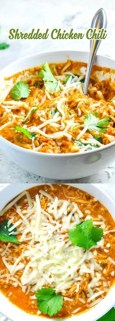 Shredded Chicken Chili (Keto) includes 2 cups cooked shredded chicken, 2 tablespoon Butter, 4 cups chicken broth, 1 (14.5 oz) can diced tomatoes with green chilies, undrained, 1 small can green chilies, undrained , 1 can (3 oz) tomato paste, 1-2 tablespoons Chili powder, 1-2 tablespoon Cumin, 1/2-1 tablespoons Garlic powder, 2 jalapeños, chopped, 8 oz cream cheese, Salt and pepper, to taste,