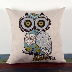 """HOSL Cotton Linen Square Decorative Throw Pillow Case Cushion Cover Cartoon Green Cute Cartoon Owl 18 """" *** Be sure to check out this awesome product. Throw Cushions, Linen Pillows, Throw Pillow Cases, White Decorative Pillows, Decorative Throw Pillows, Sofa Cushion Covers, Pillow Covers, Owl Pillow, Owls"""