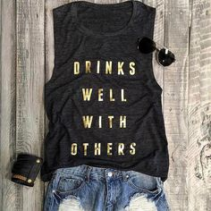Women Casual Top Tees Drinks Well With Others Tank Dark Grey Summer Casual Letter Printed Sleeveless Tank Tops - Trendy Supply Funny Tank Tops, Top Funny, Funny Tees, Casual Tops For Women, S Shirt, Personalized T Shirts, Print Tank, Latest Fashion For Women, Ladies Fashion