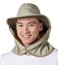 The Tilley Cape - A great Hat accessory, and so easy to attach. Two Velcro tabs at the top allow you to attach it right to the wind cord on the outside of the Hat. The elastic allows for one cape to fit all sizes. This cape is certified UPF 50+. Hat not included.