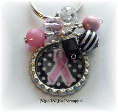 Breast Cancer bottle cap key chain.