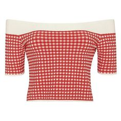 Jonathan Simkhai Gingham Off The Shoulder Knit ($295) ❤ liked on Polyvore featuring tops, crop top, red top, red off shoulder top, gingham top and short sleeve tops
