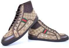 NEW GUCCI MEN'S 256647 GG GUCCISSIMA WEB STRIPE HIGHTOP SNEAKERS SHOES 13.5 G #Gucci #AthleticSneakers