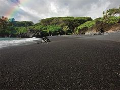 Must visit beaches: Black Sand Beach Unique lava rock pebbles create a beach unlike anything you've ever seen. Keep you flip flops on and as the pebbles are not as fun to walk on as sand. Maui Honeymoon, Hawaii Vacation, Hawaii Travel, White Sand Beach, Black Sand, Red Black, Places To Travel, Places To See, Hawaii Homes