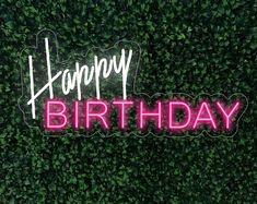Happy Birthday Custom Party Neon Sign Acrylic Flex Led Custom | Etsy Neon Lamp, Custom Neon Signs, Led Signs, Neon Lighting, Happy Birthday, Patio, Handmade, House, Etsy