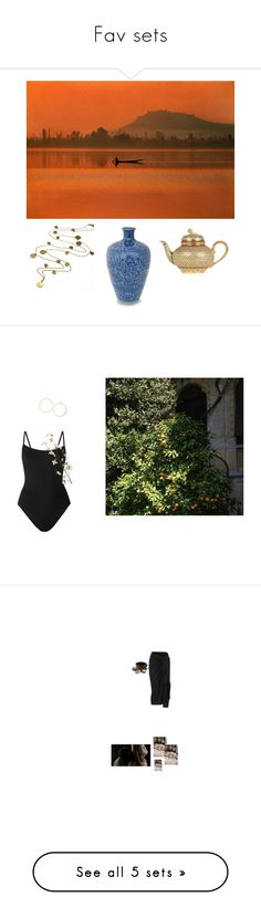 """""""Fav sets"""" by ohmywhoisshe ❤ liked on Polyvore featuring art, gold, water, vase, decor, teapot, Eres, Pier 1 Imports, Topshop and Jaune de Chrome"""