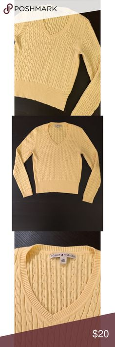 Pale Yellow Tommy Hilfiger V-Neck Cord Sweater Pale Yellow Tommy Hilfiger V-Neck Cord Sweater. Size L. Could probably fit M-L. Excellent condition. No rips, tears, or stains. Very gently worn. Tommy Hilfiger Sweaters V-Necks