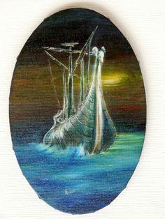 """Öl Gemälde Kanvas Rahmen Handgemalt Schiff Mythologie Wasser Vlies gold direkt,   """"The Argo"""" Hajewski Gc, Öl, Kanvas Größe: 30x20cm oval - Rand des Gemäldes ist schwarz bemalt, auf die Weise musst das Werk nicht gerahmt werden."""