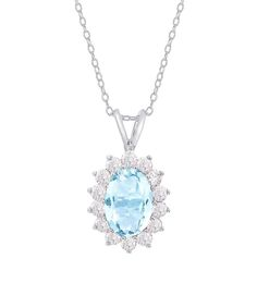 Cubic Zirconia & Blue Topaz Flower Pendant Necklace