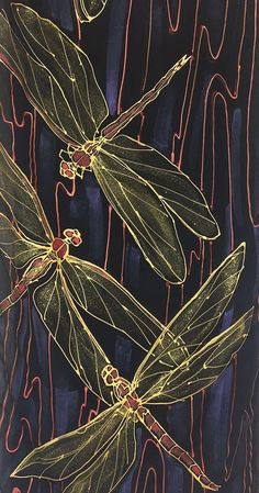 Dragonfly Scarf Silk Scarf Handpainted ETSY Gold and Red Sparkle Paint, Dragonfly Art, Silk Art, Linocut Prints, Fabric Painting, Textile Art, Watercolor Art, Paper Art, Art Drawings