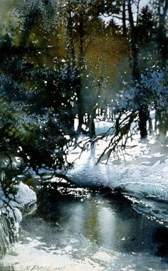 Winter Woods Engle by Nita Engle - had to pin this on this board - beautiful painting that is such a likeness of our stream in winter. Description from pinterest.com. I searched for this on bing.com/images