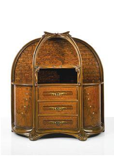 "Majorelle - ""Aux Orchidees"" Chest of Drawers c1899-1900. Walnut, macassar ebony, thuya, amaranth, bois des iles, burl amboyna, mother-of-pearl, copper, marble, gilt bronze"