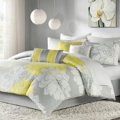 Madison Park Lola Modern Comforter Set. Gorgeous yellow and grey bedding set. #comfortersets #yellowgreybedding #beddingsets #afflnk #funkthishouse