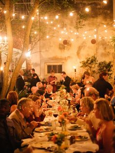 Lights strung in the courtyard of Cafe Amelie provided the perfect ambiance for this intimate wedding reception. Wedding Dinner, Diy Wedding, Wedding Reception, Wedding Ideas, Wedding Stuff, Spring Wedding, Wedding Bells, Wedding Flowers, Wedding Planning