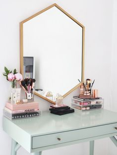 Kate La Vie - Dressing table/vanity make up storage room tour.  I love the desk/table, I love that it isn't white. Kates styling is always on point, using that hint of pink with the duck egg blue is just beautiful. And lets just take a moment for that mir