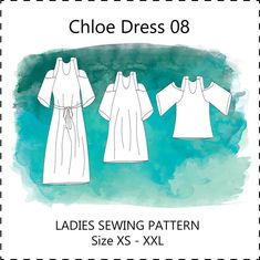 Chloe dress / top 08 PDF sewing pattern cold / off the shoulder unfitted short long summer