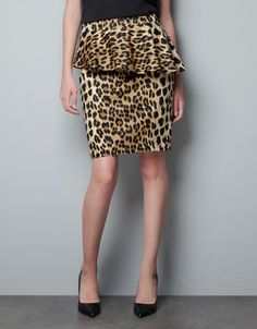 PRINTED PENCIL SKIRT WITH FRILL - Skirts - Woman - ZARA