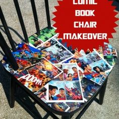 Thrift chair turned Mod Podge comic book super hero. (Try this on tray tables and/or coffee table.)