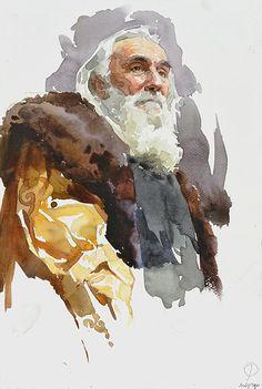 Glazunov watercolor russian academic painting