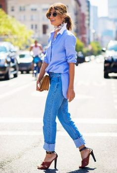 This is one way to elevate your style with classic denim and blue. #denim #collaredshirt #streetstyle #heels