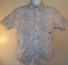 Billabong button front shirt Small White EUC S Short sleeve light blue pattern #Billabong #ButtonFront