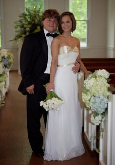 #RealBride wearing a custom heidi elnora wedding dress. The neutral ribbon is the perfect way to add a pop of color to your special day!