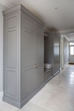 Perfect hallway storage in this lovely Victorian home in Chelmsford. The Spenlow cabinetry is the same as the main kitchen - direct link in… Hallway Cupboards, Hallway Storage, Hallway Closet, Kitchen Cabinets, Mudroom Laundry Room, Laundry Room Design, Boot Room Utility, Limestone Flooring, Travertine