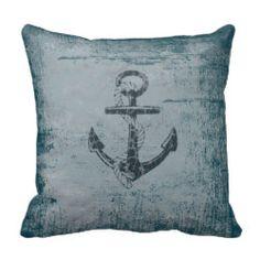 Nautical Anchor Distressed Blue Throw Pillow Throw Pillows