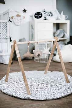 Natural neutral colours baby gym SET, Wooden play gym and teething toys - GYM. Baby Bedroom, Baby Room Decor, Nursery Decor, Teddy Bear Toys, Play Gym, Baby Room Design, Teething Toys, Baby Toys, Baby Gifts
