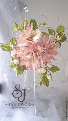"""ЦВЕТЫ ИЗ ФОАМИРАНА Декор для штор подхват """"Барокко"""" - бледно-розовый,декор для интерьера"""