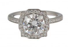 Harry Winston Diamond Platinum Belle Engagement Ring 1.51 Carats sz 4.75