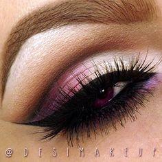 desimakeup creates a gorgeous cut crease eye