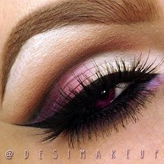 Purple and pink cut crease eyeshadow #eyes #eye #makeup #eyeshadow #dark #bright #dramatic