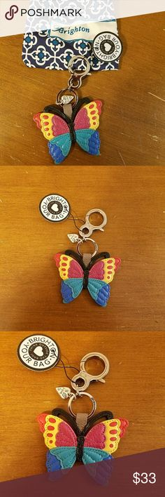 Brighton Authentic Betty Butterfly Handbag Key Fob Blue/Red Brighton Accessories Key & Card Holders
