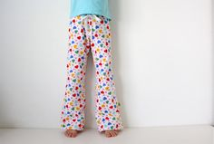 TUTORIAL: PJ Pants for Babies and Kids | MADE, includes free pattern for 2t-3t and links to details on how to adjust the pattern for other sizes. I love her tutorials, they are so easy to follow.