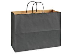 "Kraft Tinted Color Shopping Bags - 16 x 6 x 12"", Vogue, Black S-8592BL"