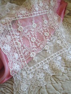 Vintage antique Net tulle tambour embroidered doily trim french.... Inspiration